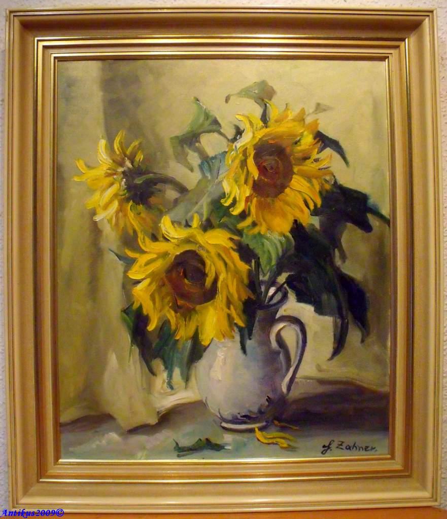 hermine zahner 1912 1981 stilleben vase mit sonnenblumen von antikus2009 ebay. Black Bedroom Furniture Sets. Home Design Ideas