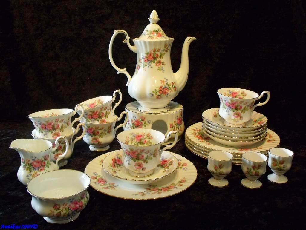 royal albert moss rose bone china england kaffee service 25 teile ebay. Black Bedroom Furniture Sets. Home Design Ideas