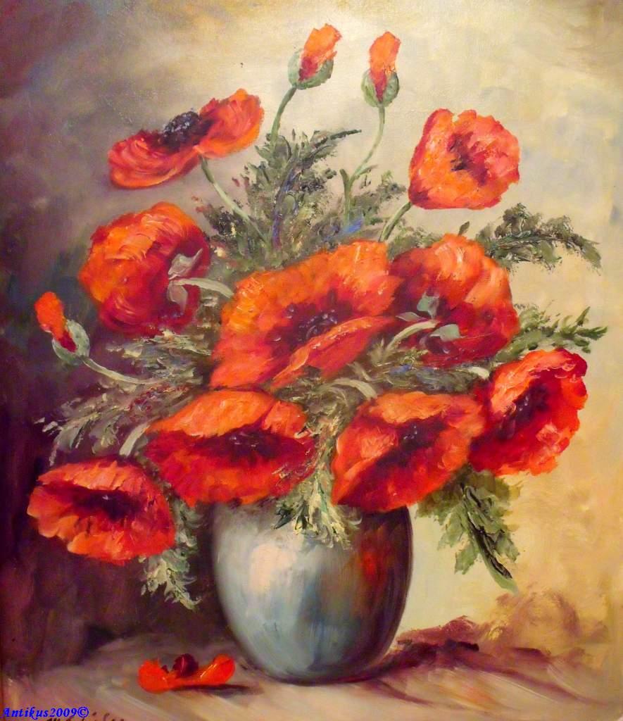 M sch fer d sseldorf stilleben vase mit mohnblumen ebay - Dusseldorf bilder auf leinwand ...