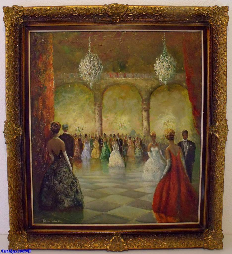 impressionistisches meisterwerk feine gesellschaft im ballsaal opern ball. Black Bedroom Furniture Sets. Home Design Ideas
