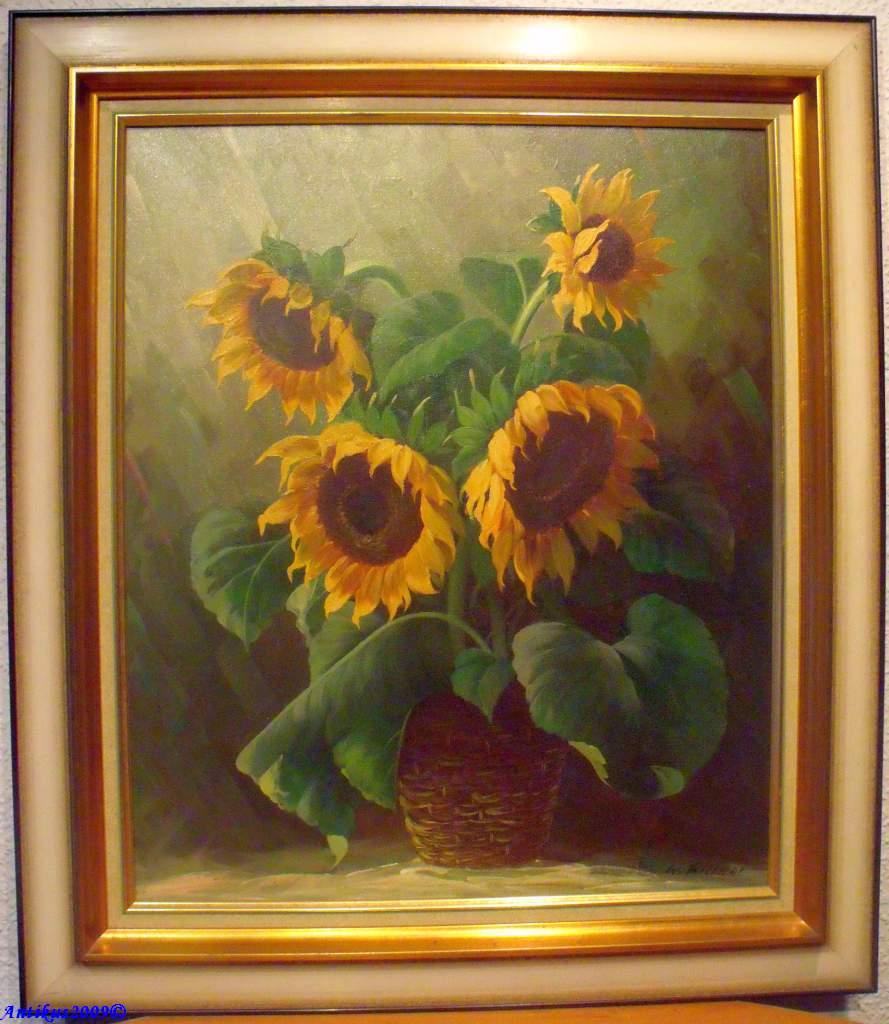 walter richter 1913 1989 stilleben vase mit sonnenblumen ebay. Black Bedroom Furniture Sets. Home Design Ideas